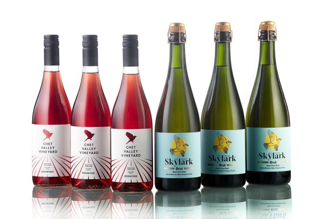 Six bottles of Chet Valley Vineyard wine, three red wine bottles, and three white sparkling wine bottles.